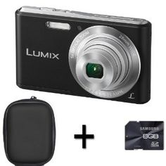 Panasonic Lumix DMC-F5 - Black + Case and 8GB Memory Card (14.1MP, 5x Optical Zoom, Super Slim Design, 28mm Wide Angle Lens, HD Video Record...