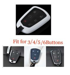Remote Key Cover 3/4/5/6 Buttons Fob Bag Holder Protector For 2014-2016 Cadillac #Budgettank