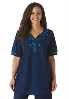 Plus Size Peasant blouse with embroidery and short sleeves