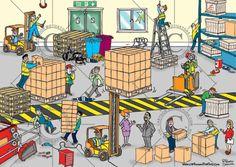 Health and safety cartoon – spot the hazards in a warehouse. Health And Safety Poster, Safety Posters, Office Safety, Workplace Safety, Safety Cartoon, Cartoon Cartoon, Hazard Identification, Safety Fail, Safety Work