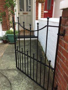 Attractive design finished in black. This example has been sent in by our customer. The size is high by wide. Garden Gates And Fencing, Wrought Iron Gates, Driveway Gate, Water Hose, Entrance Gates, Gate Design, Outdoor Structures, Outdoor Decor, Inspiration