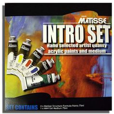Matisse Structure Formular is a rich impasto acrylic paint that is the preferred choice of professional artists. The intense, vibrant colours of the Structure Formular paints cover the full colour spectrum, including several uniquely Australian colours.  $39.95  http://arthousebroome.com.au/on-line-store/art-supplies/Paint/paint-sets/matisse-structure-artists-acrylics-intro-set-and-medium