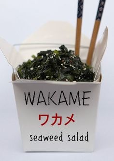 seaweed salad 50g dried wakame seaweed, 4 tbls red wine vinegar, 2 tbls sesame oil  1 tbls honey, 2 tsp soy sause 1 tsp dried chili 1/4 c sesame seeds rehydrate seaweed as instructions on pkg. mix dressing and toss.