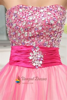 Hot Pink Short Strapless Prom Dresses, Hot Pink Semi Formal Dresses. Vampal