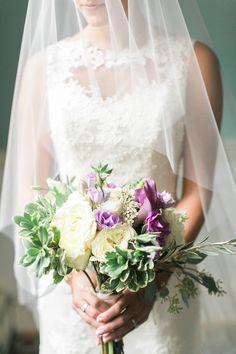 Purple and white bridal bouquet by www.petalsandtwigsrva.com.  Photo Credit: Jillian Michelle Photography