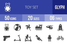 50 Toy Set Glyph Icons by IconBunny on @creativemarket