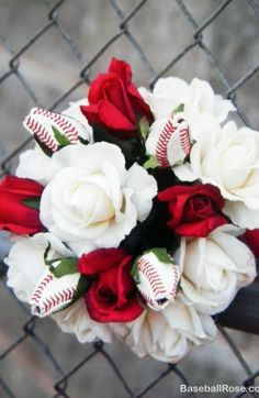 Wedding Roses Baseball Wedding with Baseball Rose Bridal Bouquet - Kasie and Clint got married on his high school baseball field. He is a pitcher in the Atlanta Braves minor league system. Kasie's bridal bouquet with made with Baseball Roses. Softball Wedding, Sports Wedding, Basketball Wedding, Perfect Wedding, Our Wedding, Dream Wedding, Pirate Wedding, Hunting Wedding, Rose Bridal Bouquet