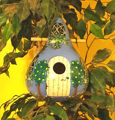 Periwinkle. Blue Cottage Gourd Birdhouse by KaydeeCountryCottage, $24.00