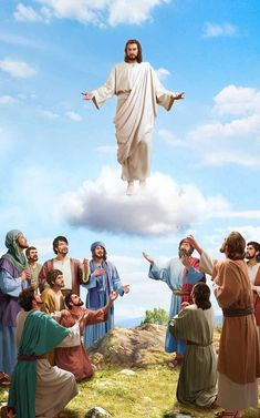 """The Scripture says, """"this same Jesus … shall so come in like manner as you have seen him go into heaven."""" Without descending with the cloud, isn't He the Lord Jesus? Pictures Of Jesus Christ, Bible Pictures, Religious Pictures, Jesus Christ Quotes, Images Of Christ, Jesus Christ Painting, Jesus Art, Ascension Day, Jesus Photo"""
