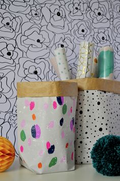 Arty's Getaway: Very Budget Friendly Patterned Paper Bags DIY // Storing and Organizing has never been more fun, and you can blame these cool babies!