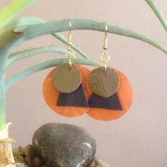 Lightweight handmade leather earrings (yam, denim blue and moss green) by GotMySoul on Etsy https://www.etsy.com/listing/207476711/lightweight-handmade-leather-earrings