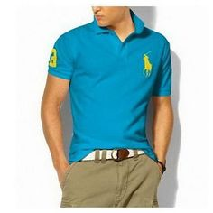 Brilliant Blue Ralph Lauren Mens Big pony Cotton Short-sleeved Polo