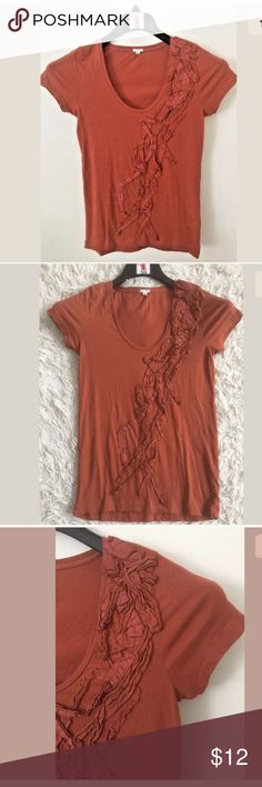 """J.Crew Tissue Tee Women's J.Crew Tissue Cascading Twist Tee  100% Cotton  Rust Brown Color Short Sleeve Shirt Pre-owned in great condition with no flaws Women's Size XS. Measures 15"""" across chest arm pit to arm pit laying flat. Length is 24"""" long measured from top of shoulder to bottom hem. J. Crew Tops Tees - Short Sleeve"""