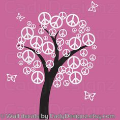Peace Sign Vinyl Tree Decal  Children wall art  by CadyDesignz, $120.00