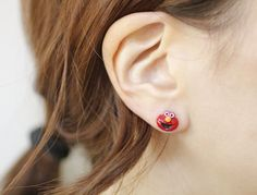 Sesame Street Stud Earrings , Cookie Monster And Elmo Earrings, The Mu