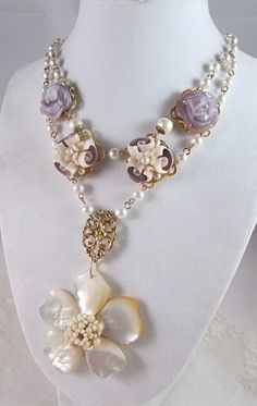 Vintage Mother of Pearl Flower Pendant/Pearl, Glass and Shell Necklace | TimelessDesigns - Jewelry on ArtFire
