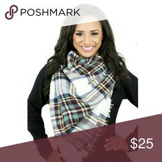 "White Blanket Scarf Plaid Blanket Scarf  70% Acrylic 30% Wool  55"" X 55"" Length Accessories Scarves & Wraps"