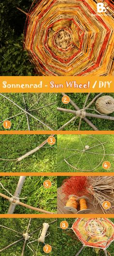 sun wheel - a big vibrant garden decoration for litha or midsummer. There is an easy tutorial and many pictures on this blog. Sonnenrad by buntwerkstatt.at
