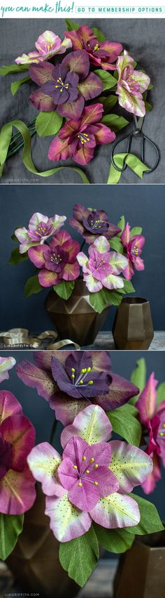 Looking for seasonal flowers to craft? Today we're showing you how to make this double petal crepe paper Hellebores, also known as the Christmas rose. Large Paper Flowers, Crepe Paper Flowers, Diy Flowers, Fabric Flowers, Diy Paper, Paper Crafts, Origami, Christmas Rose, Paper Flower Tutorial