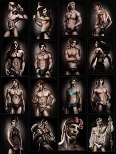 All of the men! David Kawena is my hero for doing this art.  Make your man do these poses!