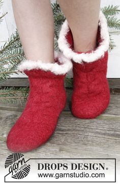 """Christmas gift idea: Felted DROPS slippers with cable in """"Nepal"""". ~ DROPS Design"""