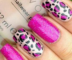 Leopard Nail Art, Leopard Print Nails, Animal Nail Art, Pink Leopard Nails, Leopard Prints, Great Nails, Fabulous Nails, Gorgeous Nails, Fancy Nails