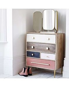 Gal Unstained Mango Wood Chest of Drawers Gal Unverfärbtes Mangoholz Kommode Chest Of Drawers Decor, Chest Of Drawers Makeover, Old Drawers, Dresser Makeovers, Dresser Ideas, Loft Furniture, Furniture Making, Furniture Makeover, Bedroom Chest