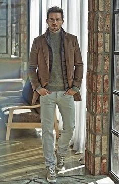 Pair a brown overcoat with grey chinos for your nine-to-five. Grey plimsolls will add some edge to an otherwise classic look.