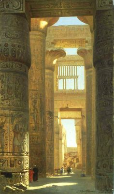 Ernst Karl Eugen Koerner (German, 1846-1927). The Temple of Karnak, The Great Hypostyle Hall, 1890.