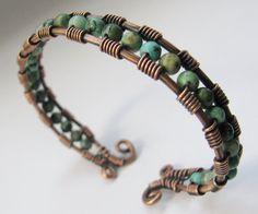 Wire Jewelry Patterns, Wire Jewelry Designs, Handmade Jewelry, Bead Patterns, Copper Wire Jewelry, Wire Jewelry Making, Copper Bracelet, Copper Cuff, Turquoise Bracelet