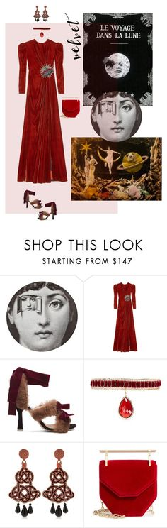 """Trip to the Moon 🌙 1902"" by ladyarchitect ❤ liked on Polyvore featuring Fornasetti, Gucci, Attico, Rosantica, Anna e Alex, M2Malletier, velvet and ladyarchitect"