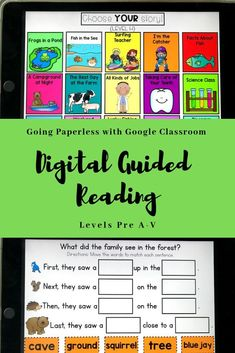 The paperless classroom is becoming more popular because technology can be so engaging for kids! My digital guided reading passages allow teachers to lead their guided reading groups all through devices. Kindergarten Reading, Teaching Reading, Teaching Ideas, Kindergarten Blogs, Learning, Google Classroom, Classroom Ideas, Classroom Activities, Guided Reading Levels