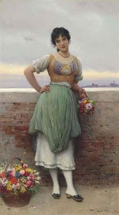 Eugene de Blaas, The Venetian Flower Seller