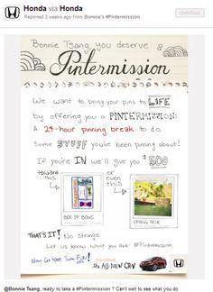 Creare engagement su Pinterest: la Pintermission di Honda! E a coi piacerebbe partecipare ad una Pintermission? Intanto potete partecipare al primo contest italiano su Pinterest: http://pinterestitaly.com/2012/04/29/pint-away-in-collaborazione-con-cuocopersonale-com/ #pinterestitaly