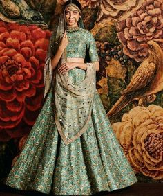The Stylish And Elegant Lehenga Choli In Sea Green Colour Looks Stunning And Gorgeous With Trendy And Fashionable Embroidery . The Raw Silk Fabric Party Wear Lehenga Choli Looks Extremely Attractive A. Indian Bridal Lehenga, Indian Bridal Fashion, Indian Bridal Wear, Indian Wedding Outfits, Bridal Outfits, Indian Outfits, Indian Wear, Indian Clothes, Bollywood Lehenga