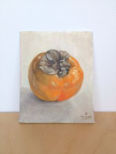 Persimmon Original Oil Painting by TAM. small art.