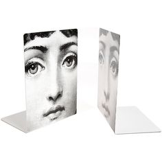 "Fornasetti ""Viso"" Face Bookends ($270) ❤ liked on Polyvore featuring home, home decor, small item storage, multi, metal bookends, black bookends, handmade home decor, black home decor and black and white home decor"