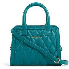 Vera Bradley Quilted Natalie Crossbody in Dark Teal ($198) ❤ liked on Polyvore featuring bags, handbags, shoulder bags, dark teal, new arrivals, quilted shoulder bag, blue leather shoulder bag, leather cross body purse, crossbody shoulder bags and blue leather purse