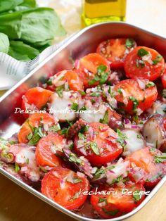 タコとトマトのマリネ1 Cafe Food, Bruschetta, No Cook Meals, Deli, Italian Recipes, Potato Salad, Seafood, Food And Drink, Cooking Recipes