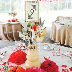 Whimsical and fun, place mix-and-match pinwheels in vases on your tables.