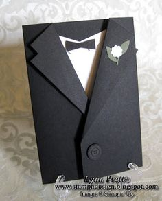 A website with stamping, card making, scrapbooking and great project ideas done with Stampin' Up products. Designs by Lynn Pratt, an architectural drafter with Pratt Design and a Stampin' Up Independent Demonstrator. Wedding Anniversary Cards, Wedding Cards, Wedding Tux, Cute Cards, Diy Cards, Tuxedo Card, Karten Diy, Shaped Cards, Fathers Day Cards