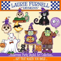 Halloween Clip Art, Halloween digital art, Halloween printables, Laurie Furnell, papercrafts, scrapbooking, Halloween papercrafts, pumpkins by LaurieFurnellDesigns on Etsy https://www.etsy.com/listing/545989438/halloween-clip-art-halloween-digital-art