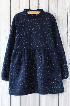 Star Print Stand Collar Loose Fitting Dress