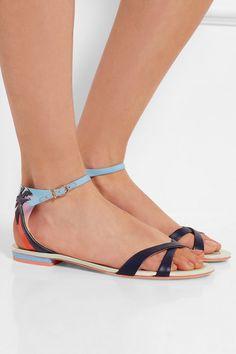 a172134141f0 Sophia Webster - Malibu Sunset vinyl-trimmed leather and satin sandals