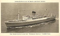 Rhodesia Castle - Union Castle Line - travelled from Mombasa, Kenya to UK 1961 Merchant Navy, Great Memories, Childhood Memories, Places Of Interest, East Africa, The Good Old Days, Titanic, Sailing, Castle
