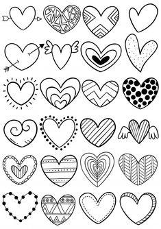 Colección de corazón doodle dibujado a m. Doodle Fonts, Calligraphy Doodles, Islamic Art Calligraphy, Calligraphy Alphabet, Zentangle Drawings, Doodles Zentangles, Zentangle Patterns, Cute Doodle Art, Cute Doodles