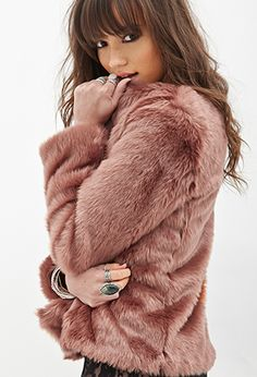 Collarless Faux Fur Jacket | FOREVER21 - 2000120832