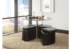Cosmo Glass Table w/Ottomans