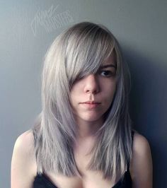 Ash Blonde Gray Hairstyle With Bangs