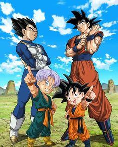 Dragon Ball Vegeta, Goku, Trunks and Goten Dragon Ball Z, Dragon Z, Goten E Trunks, Vegeta And Trunks, Comic Anime, Anime Comics, Manga Anime, Goku E Vegeta, Goku Vs